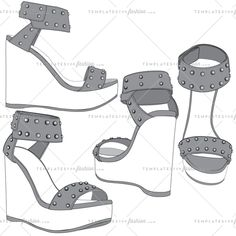 Women's Leather Wedges Fashion Flat Templates – Templates for Fashion Fashion Design Jobs, Fashion Design Drawings, Fashion Sketches, Fashion Sketch Template, Fashion Templates, Shoe Template, Flat Drawings, Drawing Clothes, Technical Drawing