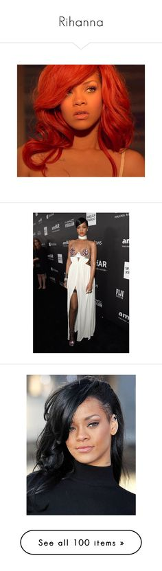 """""""Rihanna"""" by croonessii ❤ liked on Polyvore featuring rihanna, hair, hairstyles, people, pictures, backgrounds, celebrities, pic, red carpet and models"""