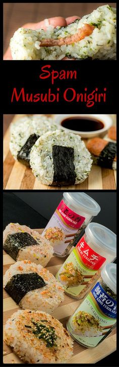 Spam musubi onigiri is a snack made by marrying two similar dishes from two distinct islands. Spam musubi: -Originated in Hawaii -A slice a teriyaki glazed spam placed on top of a nugget Japanese Dishes, Japanese Food, Japanese Recipes, Sushi Recipes, Cooking Recipes, Budget Recipes, Food Budget, Yummy Recipes, Cooking Tips