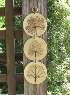 SALE Ceramic Leaves Imprinted Discs Wall Hanging 3 by SallysClay, $12.00