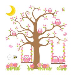 Pink, Green, and Brown Owl Tree Wall Mural Decal for baby girl nursery or children's woodland animal room decor. A family of owls out for a swing on a moon lit evening #decampstudios