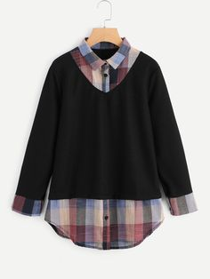 Shop 2 In 1 Plaid Contrast Blouse online. SheIn offers 2 In 1 Plaid Contrast Blouse & more to fit your fashionable needs. Cool Outfits, Casual Outfits, Fashion Outfits, Womens Fashion, Casual Wear, Kawaii Clothes, Work Shirts, Korean Fashion, Clothes For Women