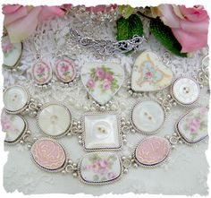 Broken China Jewelry bracelets, earrings, and charms pieces we have done in the past, www.roseblossomco...