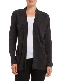 A cosy weekend wardrobe piece, this charcoal cardigan has a warm shawl collar and large front pockets. The flattering longline style is slimming when paired with dark pants. Longline Cardigan, Womens Clearance, Vintage Roses, Long A Line, Cosy, Lace Trim, Shawl, Charcoal, Slim