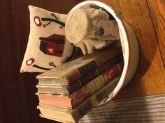 Pail of books
