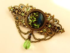 Large Antique Barrette with leaf ornaments in green bronze rhinestone hair accessories gift idea Valentine - pinned by pin4etsy.com