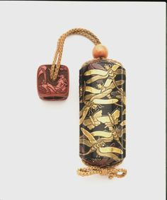 Inro depicting dragonflies and butterflies in gold, red and silver takamakie lacquer, ca. 1775 - 1850