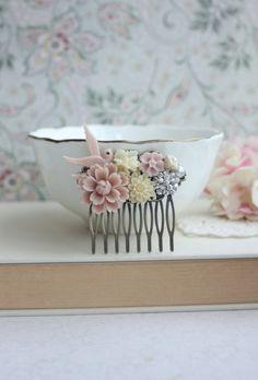 Dusky Pink, Pastel Chrysanthemum, Flying Bird, Ivory, Pearl, Rhinestone Diamentes Flower Hair Comb. Rustic Pink Wedding. Bridesmaid Gift Sis
