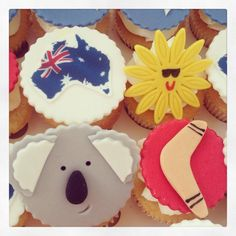 Australian themed cupcakes by The Little Cupcakery. Rose Cake Design, Leaving Party, Aussie Christmas, Australia Day, Themed Cupcakes, Early Childhood Education, Cake Decorating, Decorating Ideas, No Bake Cake