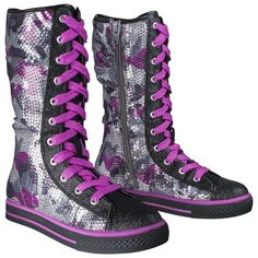 Girl's Circo® Gemma Sequin Fashion Boots - Purple Knee-High Converse -Target