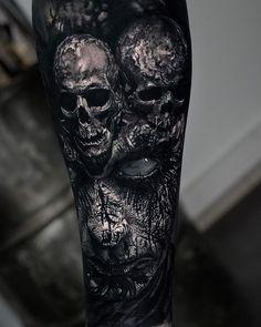 Horror Gallery by Sandry Riffard - Cool Tattoos - .- Horror Gallery by Sandry Riffard – Cool Tattoos – Gallery - Evil Skull Tattoo, Evil Tattoos, Skull Sleeve Tattoos, Creepy Tattoos, Skull Tattoo Design, Best Sleeve Tattoos, Badass Tattoos, Sugar Skull Tattoos, Body Art Tattoos