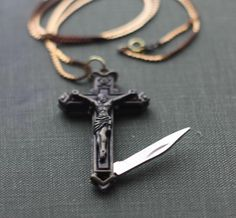Pocket Knife Necklace Crucifix Cross Brass Religious by contrary, $48.00
