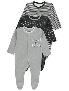 Get your little love bedtime ready with this trio of dreamy 100% cotton sleepsuits. Offering 3 fun designs and complete with easy popper fastening, they're a...