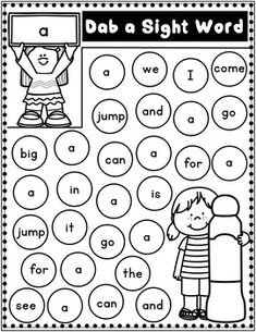 Kindergarten: Dab the Sight Words Kindergarten Language Arts, Kindergarten Readiness, Kindergarten Learning, Kindergarten Worksheets, Worksheets For Kids, Learning Activities, Preschool Sight Words, Teaching Sight Words, Preschool Writing