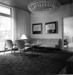 Finn Juhl - The Danish Embassy in Washington - 1960s | Embaixada Dinamarquesa em Washington 1960, decorada com Cadeirões de Finn Juhl