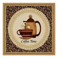Shop Coffee Time Poster created by Doodlesvarietymugs. Coffee Cup Art, Coffee Mug Quotes, Coffee Time, Morning Coffee, Coffee Theme Kitchen, Coffee Painting, Coffee Artwork, Coffee Illustration, Coffee Cards