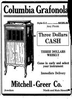 June 9, 1921 Columbia Grafonola, newspaper adv. Star Telegram, Ft. Worth, Tx