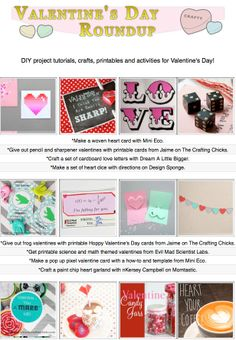16 free diy Valentine's Day craft tutorials, diy projects, crafty recipes and printables!
