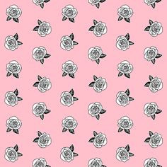 rose fabric // pink rose florals fabric black and white flower fabric fabric by andrea_lauren on Spoonflower - custom fabric