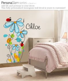 Childrens Wall Decal - Flowers & Ladybugs with Name Personalization - Large Vinyl Art Sticker - For Nursery or Kids Room or Girls - Modern