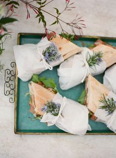 A clever way to incorporate local plants with the meal - use rosemary sprigs as decor.