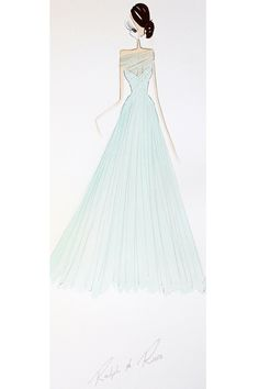 """Tiana from The Princess and the Frog by Ralph & Russo  Harrods - """"A dream come true, this mint evening gown with a sweetheart neckline and mesh overlay, features scattered crystals that cascade into a layered tulle skirt."""""""