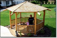 Gazebo - Southern style hexagon, but natural poles keeping it more modern and tropical