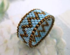 Peyote Ring in Silver Lined Brown and Sky Blue Beaded Seed Bead Delica - size 8