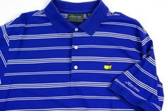 Masters Collection Mens L Augusta Blue White Stripe Polo Golf Shirt Cotton #MastersCollection #PoloRugby