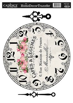 Papier - Home Dekor Transfer - Paper Clock, Clock Art, Diy Clock, Clock Template, Face Template, Vintage Clip Art, Vintage Images, Decoupage Vintage, Decoupage Paper