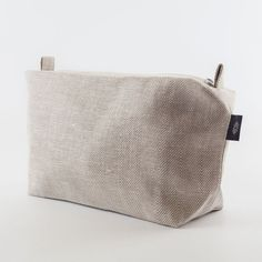 Large White Linen Makeup Bag, Herringbone Linen Makeup Bag, Zipper Pouch, Toiletry Bag, Large Travel Bag, Vegan Cosmetic Bag, Bag with Zip