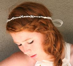 Rhinestone and pearl ribbon tie wedding headband by BeSomethingNew, $62.00