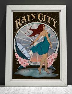 Seattle – Rain City Seattle Rain, Art Nouveau, Cherries, City, Blossoms, Handmade Gifts, Vintage, Maraschino Cherries, Kid Craft Gifts