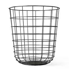 Wire Paper Bin, Black, Menu