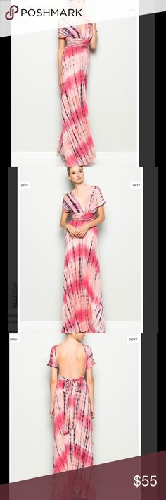 Pink Tie-Dye Convertible Maxi dress Omg this dress is just G-O-R-G-E-O-U-S. It is a unique tie-dye dress.True to size.. %95 Rayon, %5 Spandex. Fabric is amazing. This will be one of your favorite dress. It's definitely worth what you payit is pretty long dress. Would look great with heels Made in USA Dresses Maxi