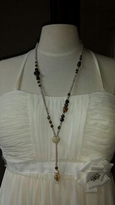 Lange Kette mit Silberteilchen und Rauchquartz Tassel Necklace, Pearls, Jewelry, Fashion, Chain, Silver, Schmuck, Moda, Jewlery