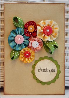 Ribbon Flowers card. I bet this same idea could be used with crocheted flowers, too. So beautiful.