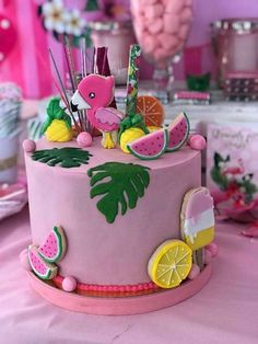 Crazy over the cute birthday cake at this Flamingo Birthday Party!! See more party ideas and share yours at CatchMyParty.com #catchmyparty #flamingo #cake