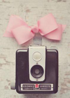 Vintage Brownie with pink ribbon