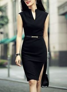 Shop zenpp black slit sheath dress here, find your knee length dresses at dezzal, huge selection and best quality. Office Fashion, Work Fashion, Fashion Sale, Fashion Black, Fashion Fashion, Fashion Ideas, Fashion Beauty, Professional Outfits, Office Outfits