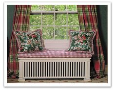 radiator cover as a wide bench seat - great idea!
