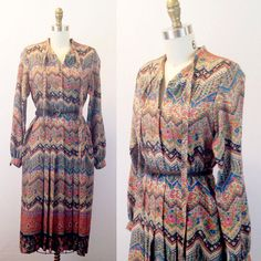 Long sleeve dress Fall dress Multicolored dress by TheIvyRetreat