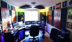 Infamous Musician – 151 Home Recording Studio Setup Ideas  LOVE all the color toooo