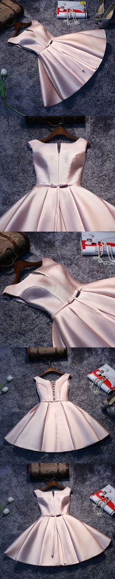 of girl | Charming pink satin A line short prom dress, homecoming dresses | Online Store Powered by Storenvy