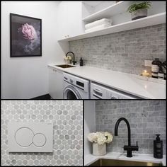 Oh girls those tiles! And we loved your artwork 'Enchanted Wall' (on pre-order at The Block Shop now). Laundry Nook, Laundry In Bathroom, Bathroom Renos, Laundry Shelves, Interior Design Living Room, Living Room Designs, Laundry Room Inspiration, Laundry Room Design, Home Renovation