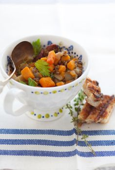 Lentil and root vegetable soup recipe.  I really like this soup--be sure to peel winter squash really well or else the soup has weird crunchy skin bits.