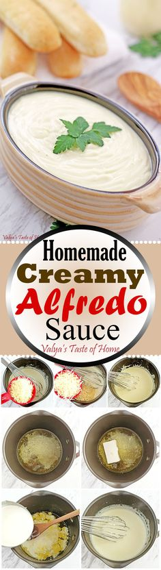 This Homemade Creamy Alfredo Sauce Recipe is very rich, creamy, and full of flavor. If you are an Alfredo fan, you should definitely be making this at home. It is so rich and tasty, you're gonna plotz! Serve warm as dipping or pour over pasta. Cream Cheese Recipes, Milk Recipes, Sauce Recipes, New Recipes, Cooking Recipes, Favorite Recipes, Amazing Recipes, Delicious Recipes, Pasta Recipes