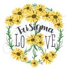 Sorority Recruitment Sigma Sigma Sigma Sunflower Peace Sign South By Sea