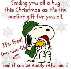 sending you a christmas hug snoopy christmas christmas quotes christmas quote peanuts christmas snoopy christmas christmas comments