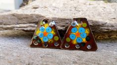Bright Blue Flowers Enamel Earring Charms. 3 by BlueHareartwear